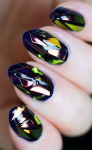 """Маникюр """"битое стекло"""" - Форма идлина ногтей"""
