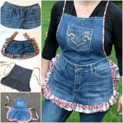 Сапоги из джинсовой ткани