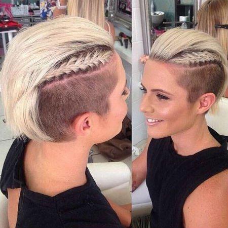женская стрижка на короткие волосы с выбритыми висками и резким переходом