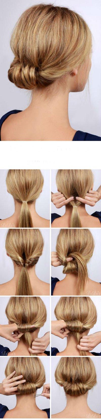15 быстрых причесок на длинные волосы - Пучок изволос