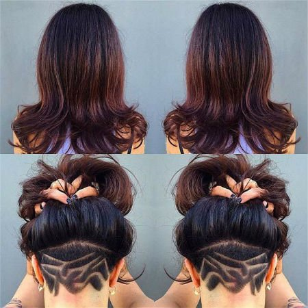 Длинные волосы с выбриванием затылка